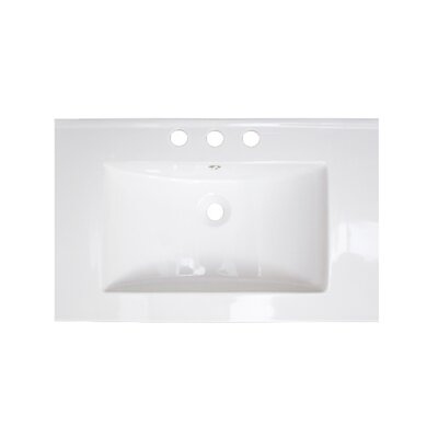 25 Single Bathroom Vanity Top Hardware Finish: White, Faucet Mount: 8 Off Center