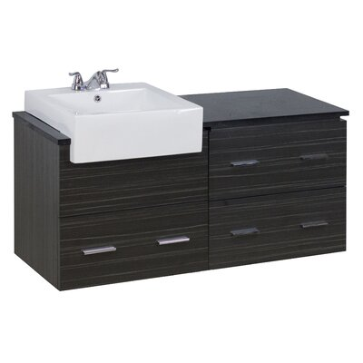 48 Single Modern Wall Mount Bathroom Vanity Set Hardware Finish: Aluminum, Faucet Mount: Single