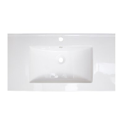 35 Single Bathroom Vanity Top Top Finish: White, Hardware Finish: Aluminum, Faucet Mount: Single