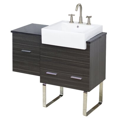 38 Single Modern Bathroom Vanity Set Faucet Mount: 8 Off Center, Hardware Finish: Aluminum