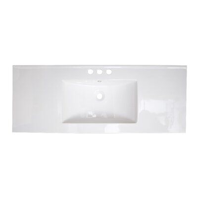 48 Single Bathroom Vanity Top Faucet Mount: 4 Off Center, Hardware Finish: White