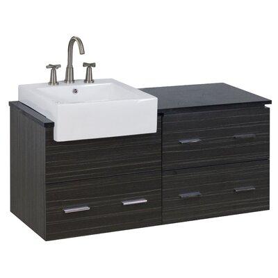48 Single Modern Wall Mount Bathroom Vanity Set Faucet Mount: 8 Off Center, Hardware Finish: Brushed Nickel
