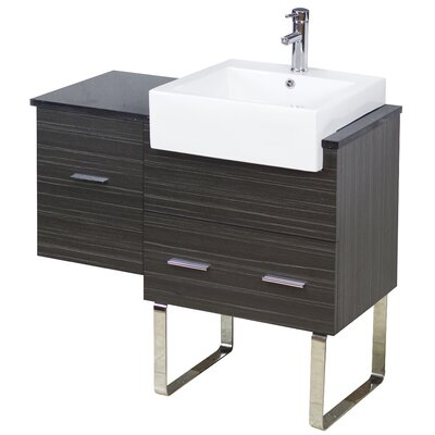 38 Single Modern Bathroom Vanity Set Hardware Finish: Aluminum, Faucet Mount: Single
