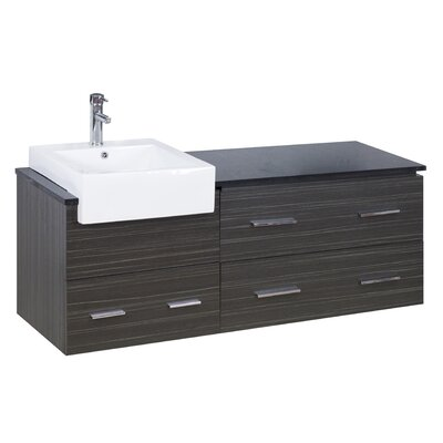 60 Single Modern Wall Mount Bathroom Vanity Set Hardware Finish: Brushed Nickel, Faucet Mount: Single