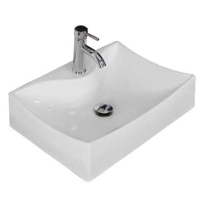 Ceramic 16 Wall Mount Bathroom Sink