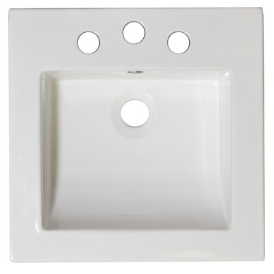 22 Single Bathroom Vanity Top Faucet Mount: 8 Off Center, Hardware Finish: White