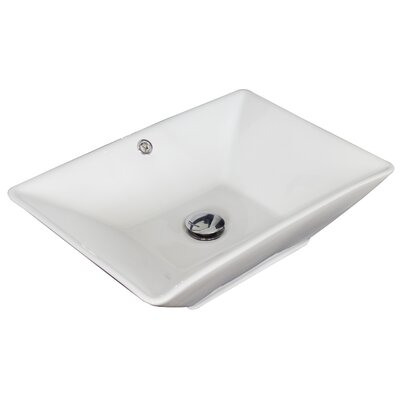 Above Counter Rectangular Vessel Bathroom Sink with Overflow Hardware Finish: White
