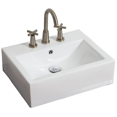 Ceramic 21 Wall Mount Bathroom Sink with Overflow Hardware Finish: Brushed Nickel, Faucet Mount: 8 Off Center