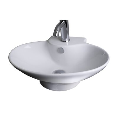 Ceramic 23 Wall Mount Bathroom Sink with Overflow Hardware Finish: Gold