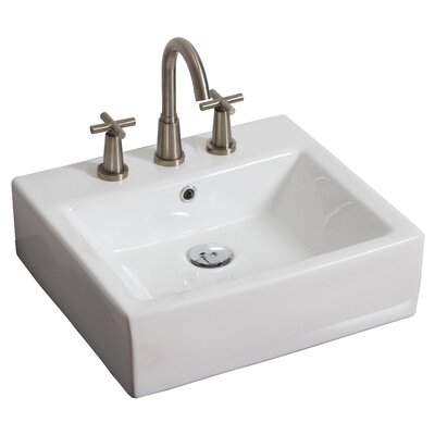 Ceramic Rectangular Vessel Bathroom Sink with Overflow Hardware Finish: Brushed Nickel, Faucet Mount: 8 Off Center
