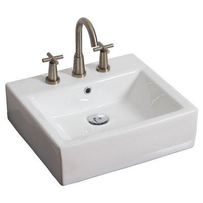 Above Counter Rectangular Vessel Bathroom Sink Faucet Mount: 8 Off Center, Hardware Finish: Brushed Nickel