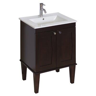 24 Single Transitional Bathroom Vanity Set Faucet Mount: Single, Hardware Finish: Chrome