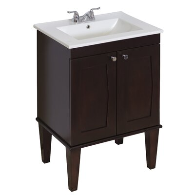 24 Single Transitional Bathroom Vanity Set Hardware Finish: Aluminum, Faucet Mount: Single