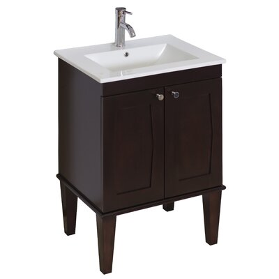 32 Single Transitional Bathroom Vanity Set Hardware Finish: Chrome, Faucet Mount: Single