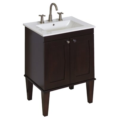 32 Single Transitional Bathroom Vanity Set Faucet Mount: 8 Off Center, Hardware Finish: Aluminum