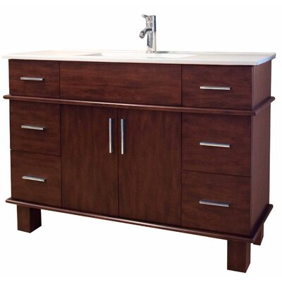 48 Single Transitional Bathroom Vanity Set Base Finish: Antique Cherry, Hardware Finish: Chrome