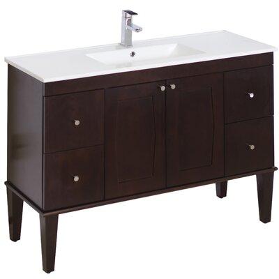 48 Single Transitional Bathroom Vanity Set Faucet Mount: Single, Hardware Finish: Chrome