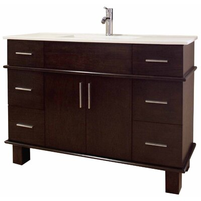 48 Single Transitional Bathroom Vanity Set Base Finish: Walnut, Hardware Finish: Aluminum