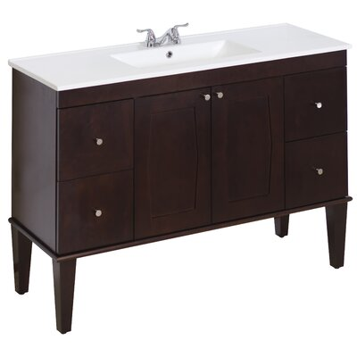 48 Single Transitional Bathroom Vanity Set Faucet Mount: 4 Off Center, Hardware Finish: Brushed Nickel