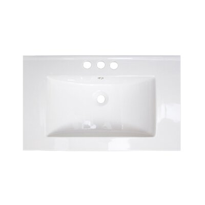 32 Single Bathroom Vanity Top Hardware Finish: Chrome, Faucet Mount: 4 Off Center