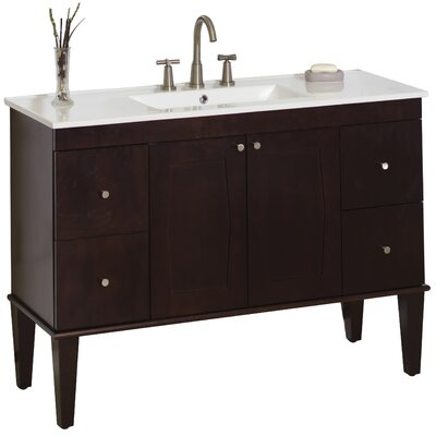 48 Single Transitional Bathroom Vanity Set Faucet Mount: 8 Off Center, Hardware Finish: Brushed Nickel
