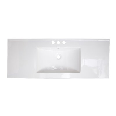 48 Single Bathroom Vanity Top Faucet Mount: 4 Off Center, Hardware Finish: Stainless Steel