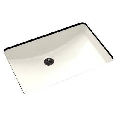American Imaginations Rectangular Undermount Bathroom Sink with Overflow Sink Finish: White, Hardware Finish: Brushed Gold
