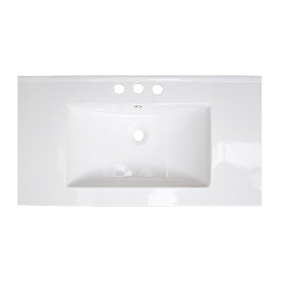 36 Single Bathroom Vanity Top Top Finish: White, Hardware Finish: Antique Brass