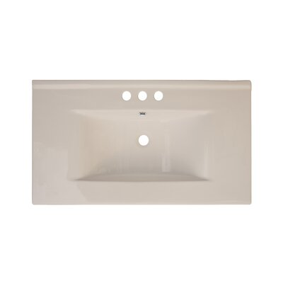 36 Single Bathroom Vanity Top Top Finish: Biscuit, Hardware Finish: White