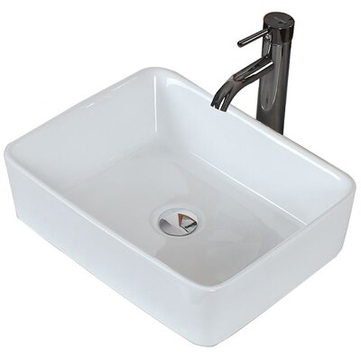 Above Counter Rectangular Vessel Bathroom Sink