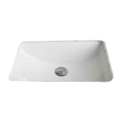 American Imaginations Ceramic Rectangular Undermount Bathroom Sink with Overflow Hardware Finish: Stainless Steel