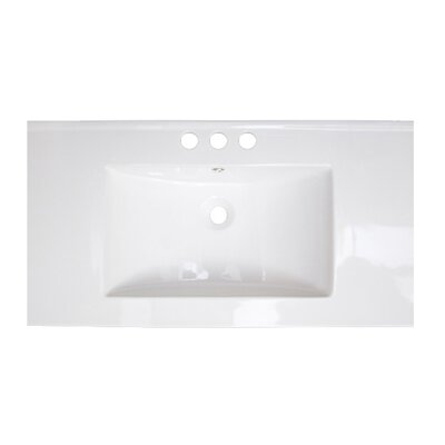 36 Single Bathroom Vanity Top Faucet Mount: 4 Off Center, Hardware Finish: Stainless Steel