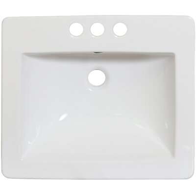 21 Single Bathroom Vanity Top Faucet Mount: 4 Off Center, Hardware Finish: Stainless Steel