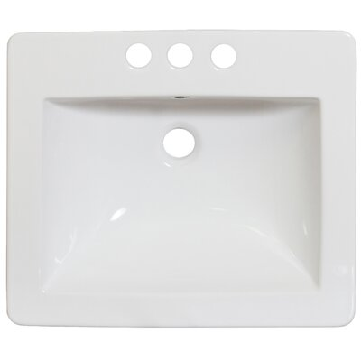21 Single Bathroom Vanity Top Hardware Finish: White, Faucet Mount: 8 Off Center