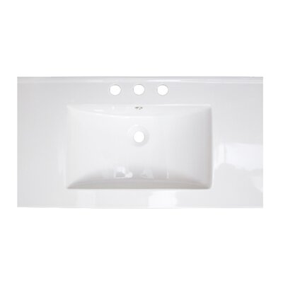 36 Single Bathroom Vanity Top Top Finish: White, Faucet Mount: 8 Off Center, Hardware Finish: Aluminum