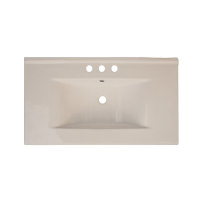 35 Single Bathroom Vanity Top Top Finish: Biscuit, Hardware Finish: Aluminum, Faucet Mount: 8 Off Center