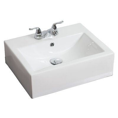 Ceramic 21 Wall Mount Bathroom Sink with Overflow