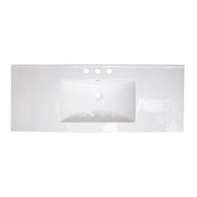 48 Single Bathroom Vanity Top Faucet Mount: 8 Off Center, Hardware Finish: Stainless Steel