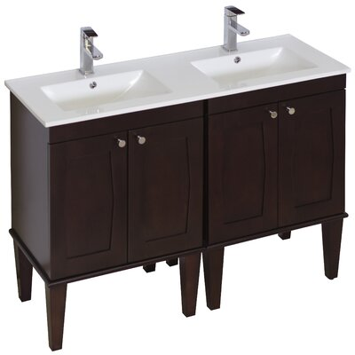 48 Double Transitional Bathroom Vanity Set Hardware Finish: Chrome