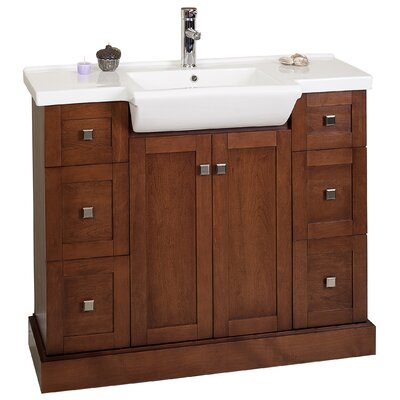 Eddy 40 Single Modern Bathroom Vanity Set Base Finish: Cherry, Hardware Finish: Brushed Nickel