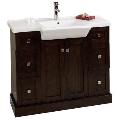 40 Single Modern Bathroom Vanity Set Base Finish: Walnut, Hardware Finish: Aluminum