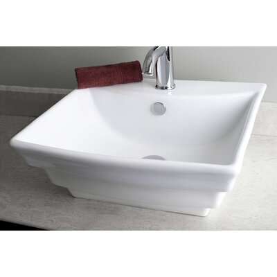 Above Counter Square Vessel Bathroom Sink with Overflow Hardware Finish: Gold