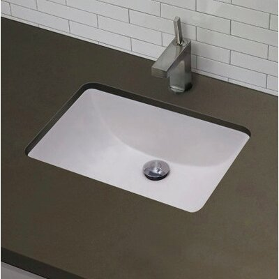 American Imaginations Rectangular Undermount Bathroom Sink with Overflow Sink Finish: White, Hardware Finish: Aluminum