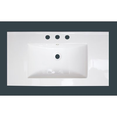 Drake Ceramic 36 Single Bathroom Vanity Top Top Finish: White, Faucet Mount: 8 Centers