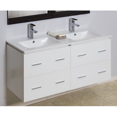 Modern 46 Double Vanity Base Hardware Finish: Brushed Nickel