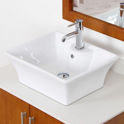 Ceramic Rectangular Vessel Bathroom Sink with Overflow Hardware Finish: Aluminum