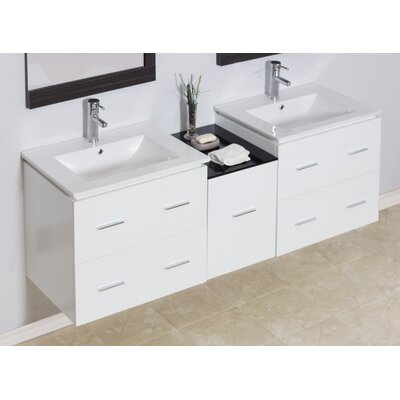 Modern 60 Double Vanity Base Hardware Finish: Brushed Nickel
