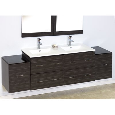 "Modern 74"" Double Vanity Base Hardware Finish: Aluminum"