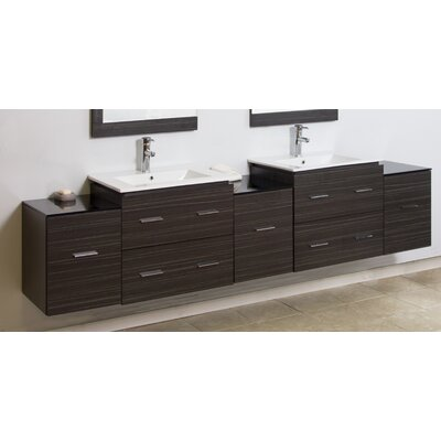 "Modern 88"" Double Vanity Base Hardware Finish: Brushed Nickel"