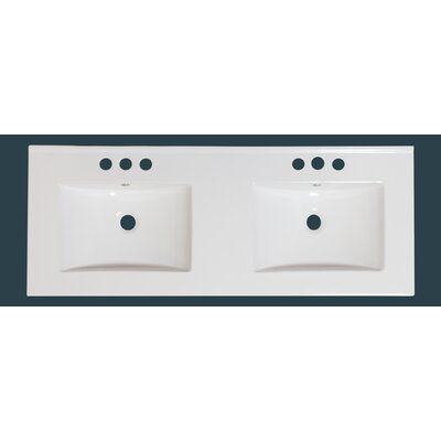 48 Double Bathroom Vanity Top Hardware Finish: White, Faucet Mount: 4 Off Center